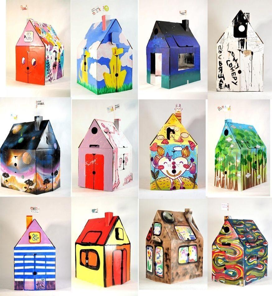 Как раскрасить домик из картона 182