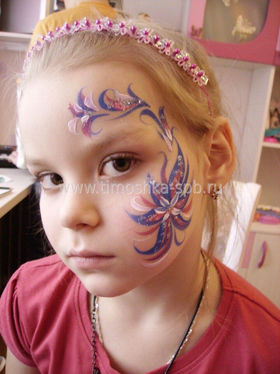 Рисунки цветов на лице фото